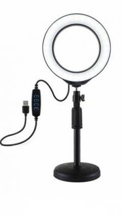 Кільцева Led лампа Ring Light 16 см на круглому штативі з тримачем для смартфона, фото 2