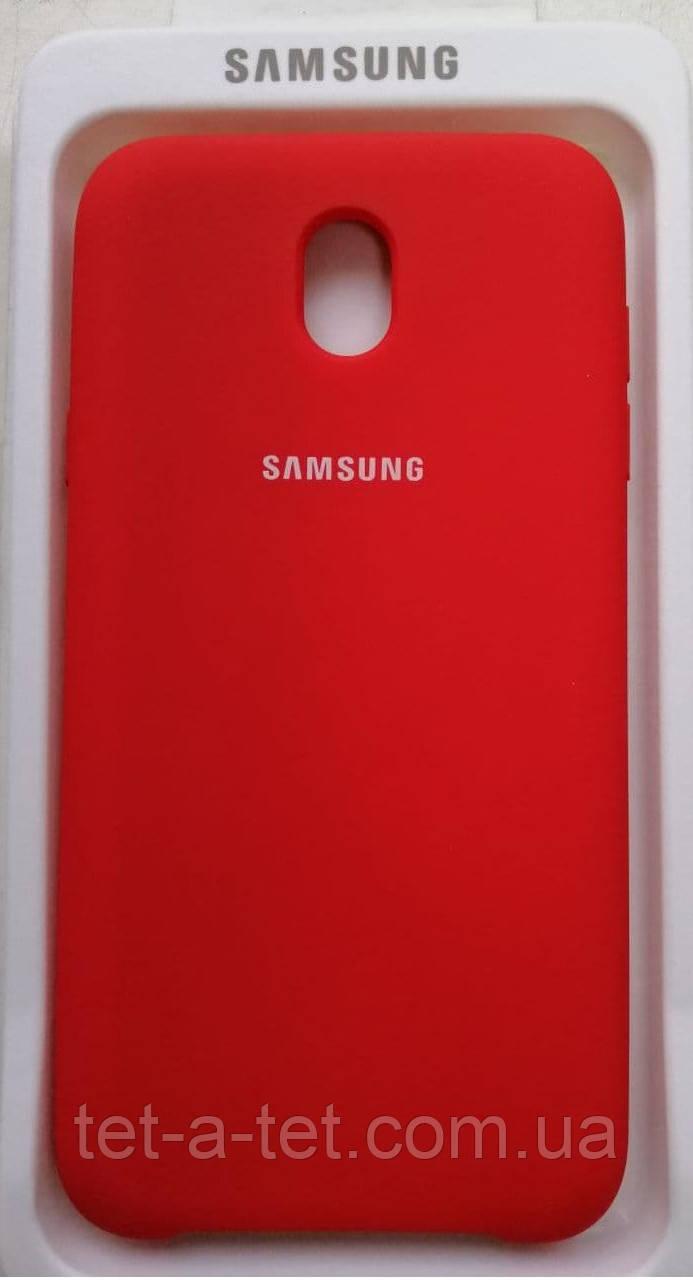 Силиконовый чехол-накладка Color Silk для Samsung J530  Red