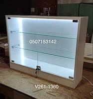 Навесной шкафчик с подсветкой и со стеклянными дверцами Модель V261-1360, фото 1