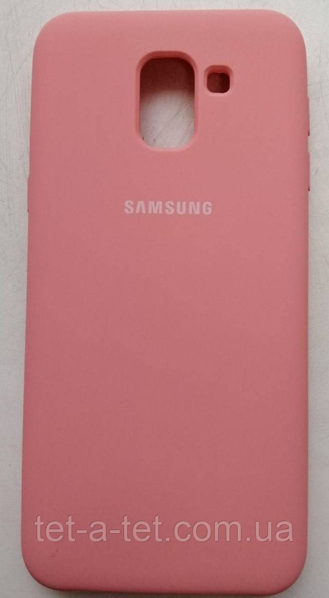 Силіконовий чохол-накладка Color Silk для Samsung J6 (2018) Pink