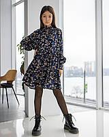 Стильное платье для девочек-подростков темно-синего цвета 134-164 р