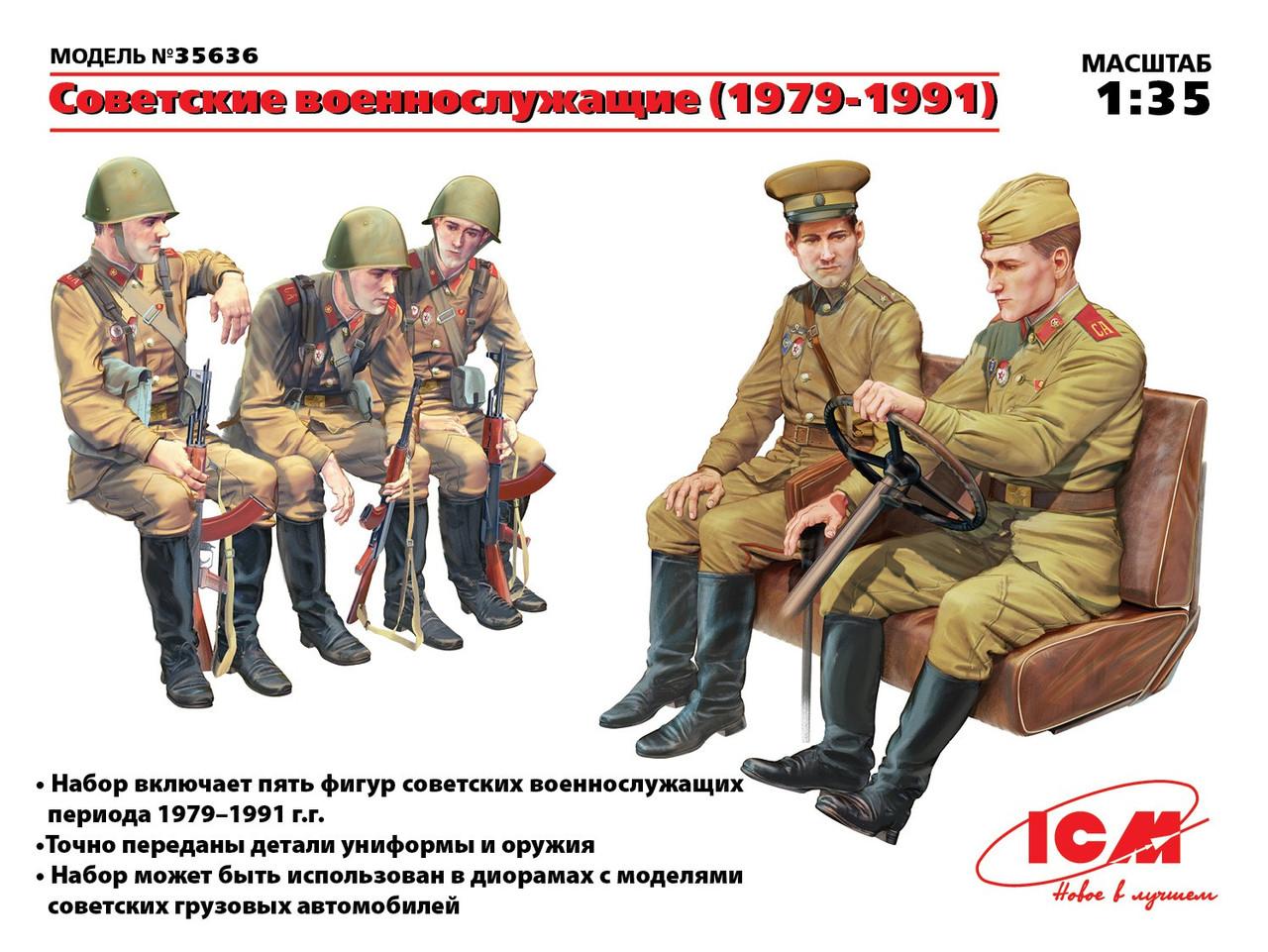 Советские военнослужащие 1979-1991 гг. Набор для сборки фигур в масштабе 1/35 ICM. 35636