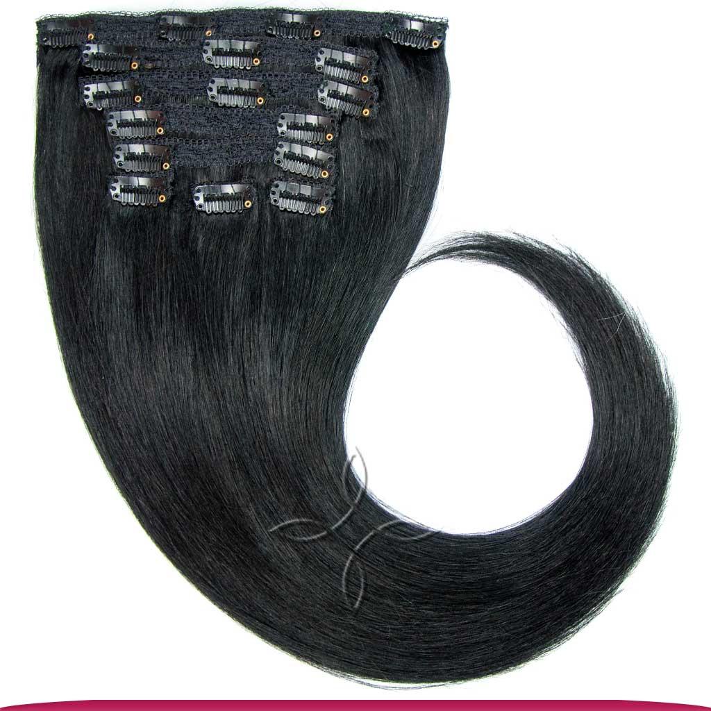 Натуральные Азиатские Волосы на Заколках 40 см 120 грамм, Черный №01