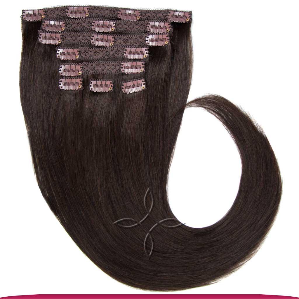Натуральные Азиатские Волосы на Заколках 40 см 120 грамм, Шоколад №1C