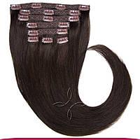 Натуральные азиатские волосы на заколках 40 см 120 грамм, Черный шоколад №01C