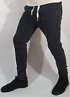 Джинсы мужские темно серые зауженные на манжете