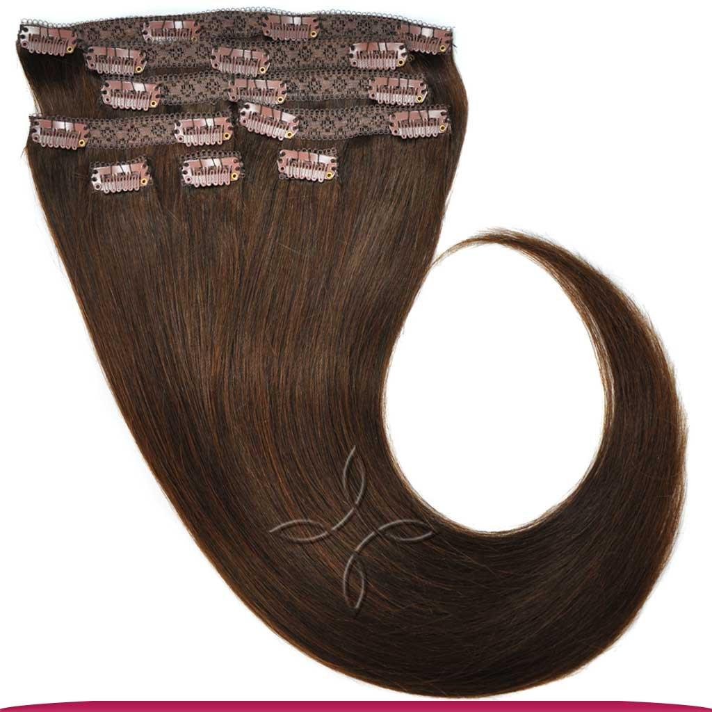 Натуральные Азиатские Волосы на Заколках 40 см 120 грамм, Шоколад №02