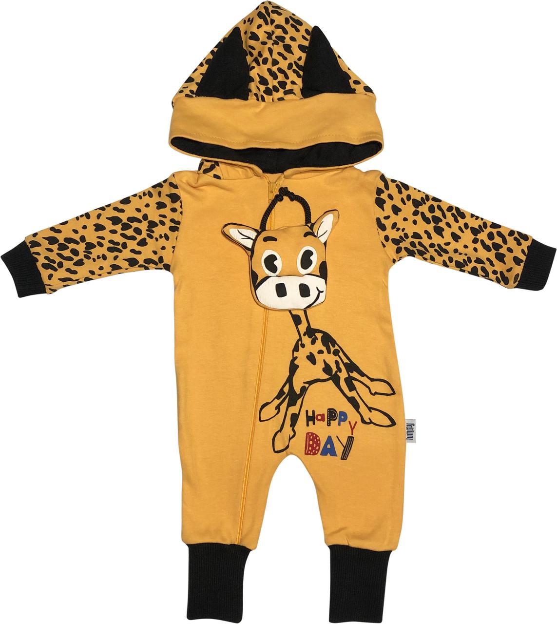 Человечек слип для новорожденных рост 62 2-3 мес на мальчика девочку капюшоном открытые ножки трикотаж жёлтый