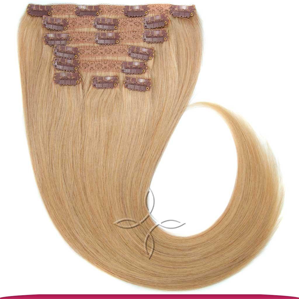 Натуральные Азиатские Волосы на Заколках 40 см 120 грамм, Светло-Русый №16