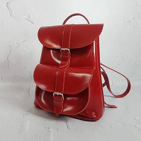 """Рюкзак жіночий """"ВОЯЖ"""" натуральна шкіра, червоний глянець"""