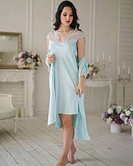 Комплект: сорочка нічна жіноча та халат, AQUAMARINE, блакитний, ТМ Komilfo, Україна,5xl