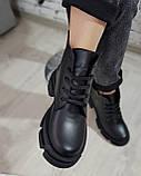 Жіночі черевики шкіряні зимові чорні Челсі шнурок, фото 2