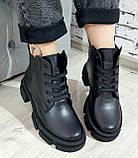 Жіночі черевики шкіряні зимові чорні Челсі шнурок, фото 4