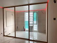 Раздвижная перегородка из цельного прозрачного стекла в профиле розовое золото, фото 1