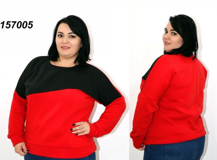Теплая женская кофта с начесом,красная/черная , Лучшая Цена!50-52,54-56