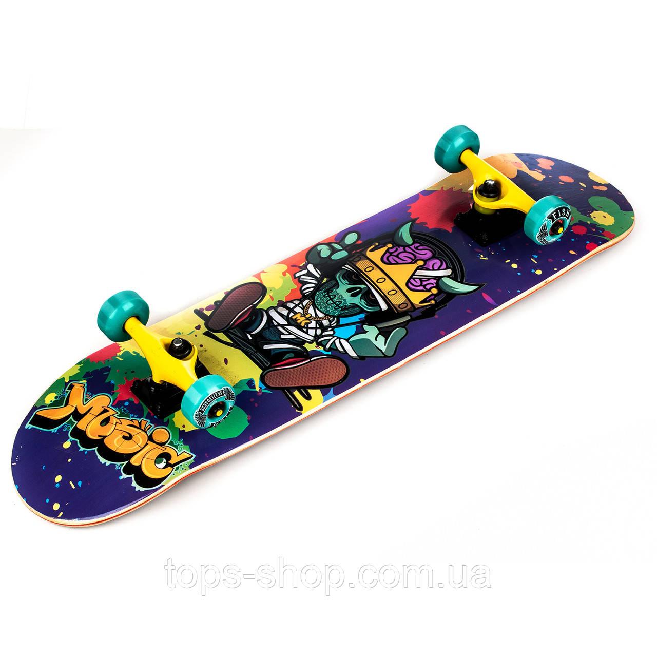 Скейт дерев'яний, Скейтборд, натуральний канадський клен, для трюків, Fish Skateboards Music, преміум!!!