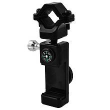 Подставка под телефон вело Q003 + 2LED, шарнир 360º, компас