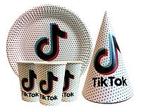 """Набор для детского дня рождения """"ТикТок"""" Тарелки, стаканы, колпачки по 10 шт."""