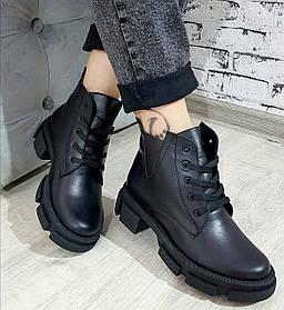 Жіночі черевики шкіряні осение чорні Челсі шнурок
