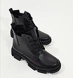 Жіночі черевики шкіряні осение чорні Челсі шнурок, фото 3