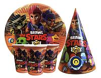 """Набор для детского дня рождения """"Бравл Старс"""" Тарелки, стаканы, колпачки по 10 шт."""