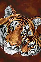 """Схема для вышивки бисером на атласе """"Тигры"""" Размер 35 х 51 см."""