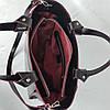 """Сумка жіноча """"ПРАГМА"""" з натуральної шкіри, чорна напівматова з бургунди виворотом, фото 7"""
