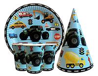 """Набор для детского дня рождения """"Машинки"""" Тарелки, стаканы, колпачки по 10 шт."""