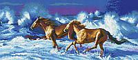 """Схема для вышивки бисером на атласе """"Резвые кони"""" Размер 62х28 см."""