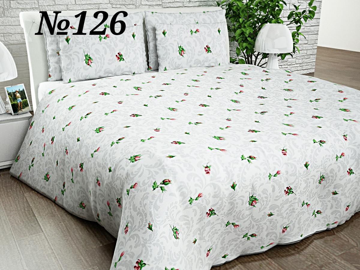 Постельное бельё, бязь GOLD, двуспальный с европростынью комплект, розы на белом