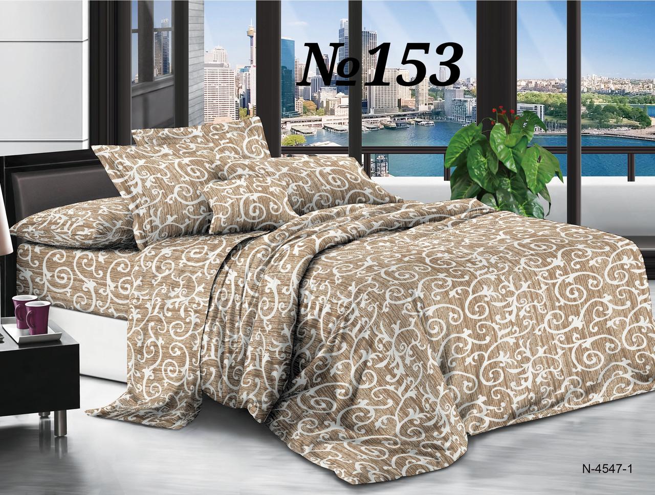 Постельное бельё, бязь GOLD, двуспальный с европростынью комплект, вензеля светло коричневые