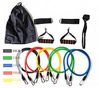 Набор резинок. Набор трубчатых эспандеров для спорта фитнеса. Реабилитация ног с петлями., фото 1