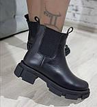 Женские ботинки кожаные зимние черные Челси шнурок, фото 4