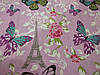 Постельное бельё Бязь GOLD Евро комплект  (цветы эйфелева башня розовая), фото 2