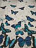 Постельное бельё Бязь GOLD Двуспальный комплект (синие бабочки на белом), фото 2