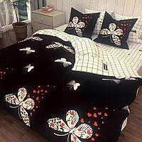 """""""бабочки"""" комплект постельного белья двуспальный 180/210, нав-ки 70/70, ткань сатин, 100% состоит из хлопка"""