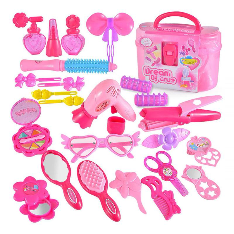 """Игровой набор для девочек Lesko 1212АВ """"набор стилиста"""" Pink в чемодане"""