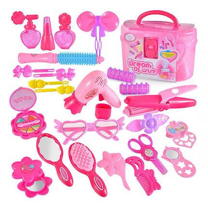 """Игровой набор для девочек Lesko 1212АВ """"набор стилиста"""" Pink в чемодане, фото 2"""