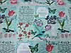 Постельное бельё Бязь GOLD Полуторный комплект (цветы надписи на бирюзовом фоне), фото 2