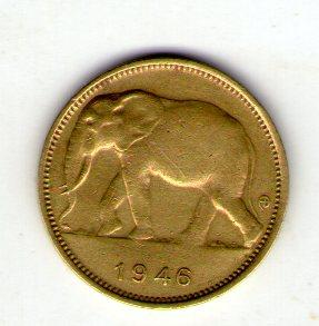 Бельгийское Конго 1 франк 1946 года  №195