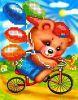 "Схема для вышивки бисером на атласе ""Мишка на велосипеде"" Размер 13 х 17 см."
