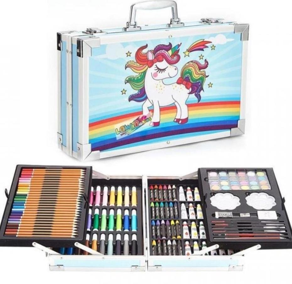 Набор для детского творчества и рисования 145 предметов. Юный художник. В алюминиевом чемодане. Единорог.