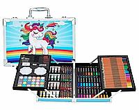 Набор для детского творчества и рисования 145 предметов. Юный художник. В алюминиевом чемодане. Единорог., фото 1