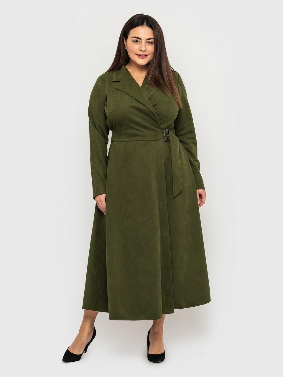 Тепле замшеве сукню на запах великого розміру