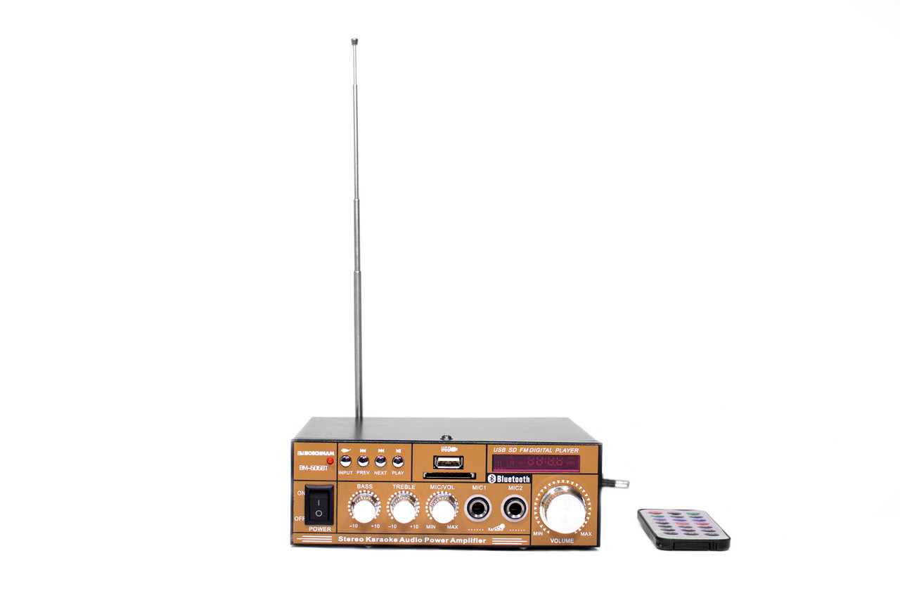 Усилитель звука BOSCHMANN BM AUDIO BM-606BT FM USB Блютуз + Караоке