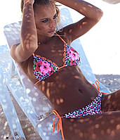 Женский раздельный купальник с ярким принтом и треугольной чашкой ( С М Л)