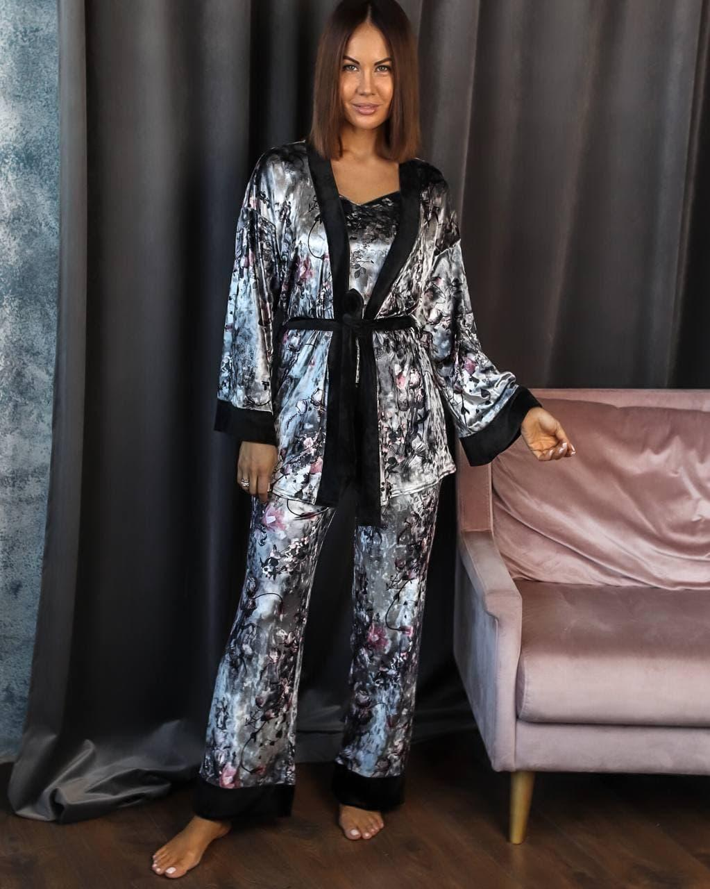 Спальный комплект женский халат майка штаны французский велюр размер:42-44,46-48,50-52,54-56.
