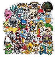 Виниловые наклейки стикеры Морские Пираты и Черепа на предметы 100 шт.