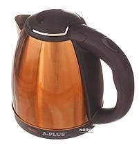 Электрочайник металлический A Plus, надежный электрический чайник из нержавейки, техника для кухни 2 L