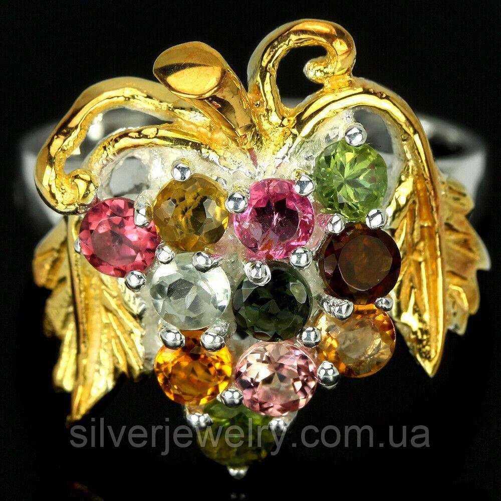 Серебряное кольцо с ТУРМАЛИНОМ (натуральный), серебро 925 пр. Размер 16,75